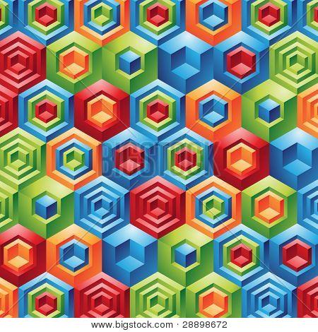 Three Dimensional colorful geometric cubes fun background