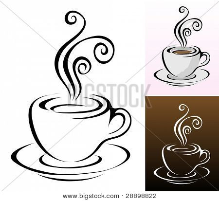 coffee cups icons in different colours & styles