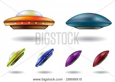 colourful unidentified flying objects cartoons isolated