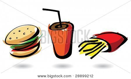 colourful fast food icons, isolated illustrations