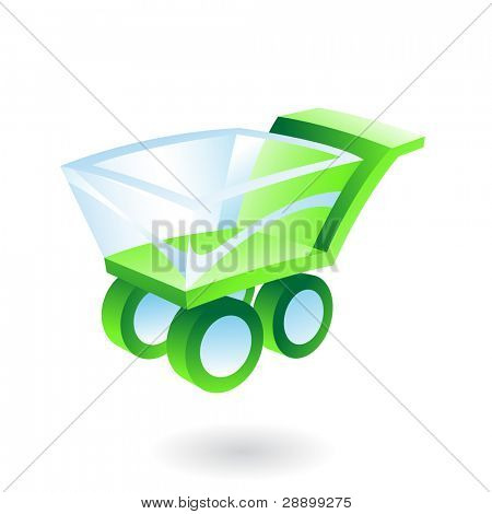 green and blue 3d shopping cart