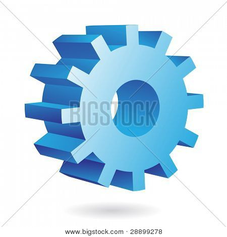 3d blue cog icon on white background