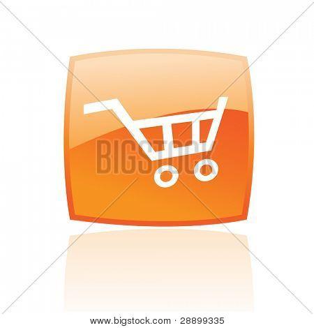 Orange Warenkorb, isoliert auf weiss