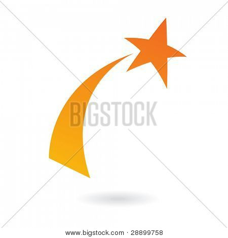 Orange shooting star isolated on white