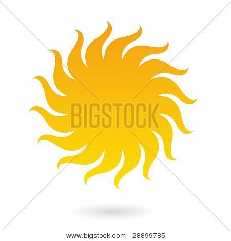 Sun icon isolated on white