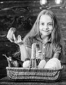 Harvest Festival Concept. Kid Girl Near Basket Full Of Fresh Vegetables Harvest Rustic Style. Farm M poster