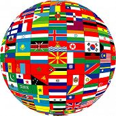 picture of flags world  - a globe made up of different flags of the world - JPG