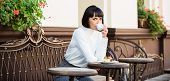 Pleasant Time And Relaxation. Delicious And Gourmet Snack. Girl Relax Cafe With Coffee And Dessert.  poster