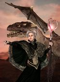 Enchanting Dragon Mother With A Fantasy Hairstyle And Fantasy Clothes Commandes A Magical Dragon Int poster