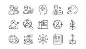 Human Resources Icons. Head Hunting, Job Center And User. Interview Linear Icon Set.  Vector poster