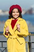 Kid Fashion Look. Autumn Trend. Happy Little Girl. Little Girl. Spring Weather. Stylish Child In Par poster