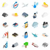 Air Adventure Icons Set. Isometric Set Of 25 Air Adventure Icons For Web Isolated On White Backgroun poster