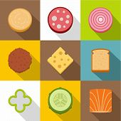 Food Ingredients Icons Set. Flat Set Of 9 Food Ingredients Icons For Web With Long Shadow poster