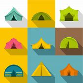 Tourist Tent Icons Set. Flat Set Of 9 Tourist Tent Icons For Web With Long Shadow poster