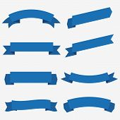 Set Of Blue Ribbon Baner Icon,ribbon Banner And Arch Banner,ribbon Vector Banner, On White Backgroun poster
