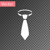 White Tie Icon Isolated On Transparent Background. Necktie And Neckcloth Symbol. Vector Illustration poster