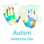 Vector Illustration Of World Autism Awareness Day poster