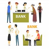 Clients Consulting At Managers At Bank Office, Banking Service Vector Illustration poster