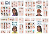 Black Woman, Man, Girl, Boy Character Constructors. From Housewife To Hipster. Cartoon Woman Face Pa poster