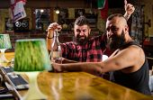 Hipster Brutal Man Drinking Alcohol With Friend At Bar Counter. Men Drinking Alcohol Together. Stron poster