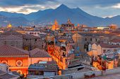 Aerial Scenic View Of Palermo At Sunset. Italy. Sicily. poster