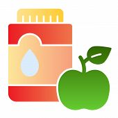 Mouthwash With Apple Flat Icon. Mouth Antiseptic Color Icons In Trendy Flat Style. Dental Care Gradi poster