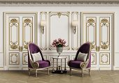 Classic Armchairs  And Small Table With Vase Of Roses In Classic Interior With Copy Space.walls With poster