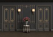 Classic Table With Vase Of Roses In Classic Interior With Copy Space.walls With Mouldings,lamps,orna poster