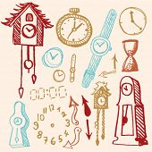 stock photo of pendulum clock  - doodle set  - JPG