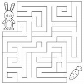 Maze Game For Preschool Kids. Coloring Page. Help The Rabbit Find Right Way To The Carrot. Vector Il poster