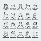People Professions And Occupations Icon Set In Thin Line Style 3 poster