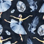 Ballet Seamless Pattern With Ballerina Symbols: Tutu, Pointe, Swan. Cute Backdrop For Ballet School, poster