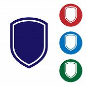 Blue Shield Icon Isolated On White Background. Guard Sign. Set Color Icon In Circle Buttons. Vector  poster