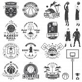 Set Of Basketball College Club Badge With Design Element. Vector. Concept For Shirt, Print, Stamp Or poster