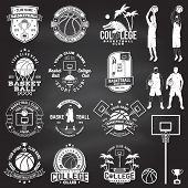 Set Of Basketball College Club Badge On The Chalkboard. Vector. Concept For Shirt, Print, Stamp Or T poster