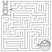 Easter Maze Game For Preschool Kids. Coloring Page. Help The Bunny Find Right Way To The Easter Eggs poster