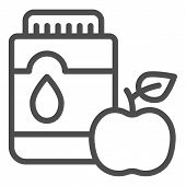 Mouthwash With Apple Line Icon. Mouth Antiseptic Vector Illustration Isolated On White. Dental Care  poster
