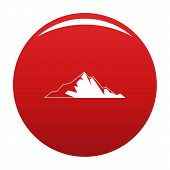 Nice Mountain Icon. Simple Illustration Of Nice Mountain Icon For Any Design Red poster