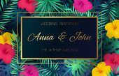 Wedding Event Invitation Card. Poster Marriage Exotic Tropical Flowers Jungle Leaves Palm Frame Deco poster