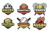 Sports Balls Logos. Sport Logo Ball Soccer Basketball Volleyball Football Rugby Tennis Baseball Badg poster