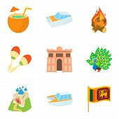 Tour Icons Set. Cartoon Set Of 9 Tour Icons For Web Isolated On White Background poster