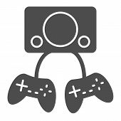 Two Gamepads Solid Icon. Video Gaming Vector Illustration Isolated On White. Game Controller Glyph S poster