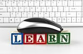 image of online education  - Learn word with mouse and keyboard - JPG