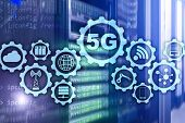 5g Network, 5g Internet Connection Concept In Digital Background. Smart Communication Network Concep poster