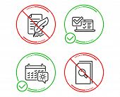 Do Or Stop. Online Survey, Feather Signature And Travel Calendar Icons Simple Set. Search Files Sign poster