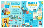 House Cleaning And Laundry Service, Maid Or Housewife. Vector Electric Appliances, Washing And Sewin poster
