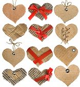 picture of grommets  - collection of cardboard card in a shape heart isolated on white background - JPG