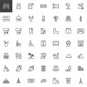Travel And Vacation Line Icons Set. Linear Style Symbols Collection, Outline Signs Pack. Vector Grap poster