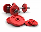 image of weight-lifting  - 3D render of weights on a white background - JPG