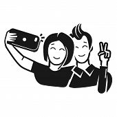 Guy With A Girl Take A Selfie Icon. Simple Illustration Of Guy With A Girl Take A Selfie Vector Icon poster